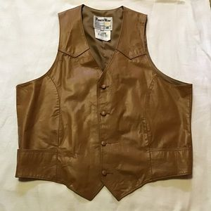 Vintage 80s men's leather vest